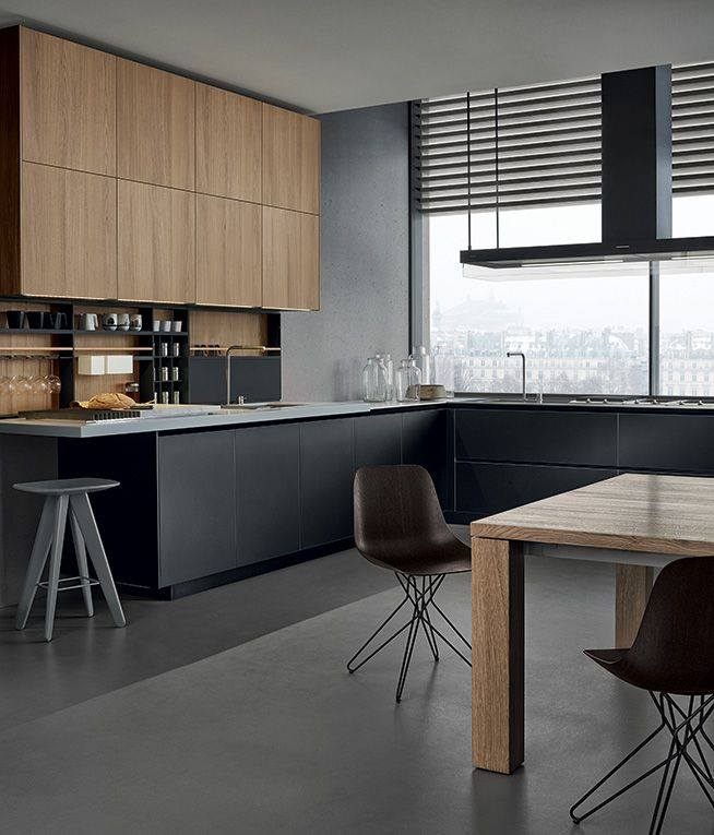 Dark Grey Modern Kitchen: Architektura Wnętrz